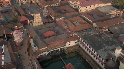 Fotografie, Obraz Udupi Krishna holy temple, Karnataka state in India, 4k aerial drone