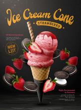 Strawberry Ice Cream Cone Poster