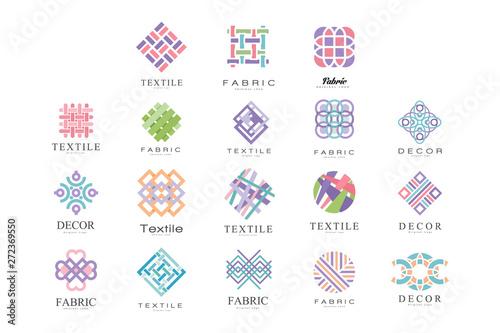 Tkanina, tkanina, wystroju loga projekta set, krawiecki sklep, szyć, krawiectwo przemysłu projekta elementu wektoru ilustracja