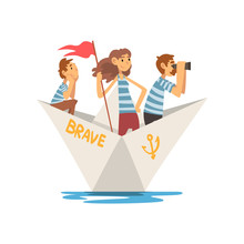 Father, Mother And Son In Striped T-Shirts Boating On River, Lake Or Pond, Family Paper Boat Vector Illustration