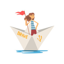 Woman In Striped Vest Boating With Flag In Paper Boat Vector Illustration