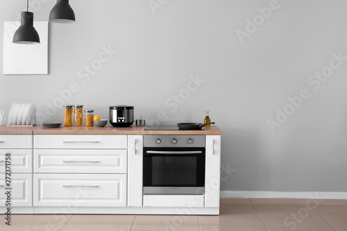 Interior of kitchen with modern oven Fotobehang