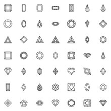 Various Diamond Shapes Line Icons Set. Linear Style Symbols Collection, Outline Signs Pack. Vector Graphics. Set Includes Icons As, Heart Shaped Diamond, Gemstone, Crystal Stone, Precious Brilliant