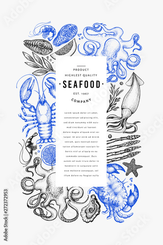 Seafood and fish design template Fototapete