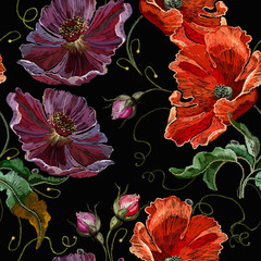 Fototapeta Maki Embroidery violet flowers and red poppies seamless pattern. Summer art. Fashion template for clothes, textiles and t-shirt design