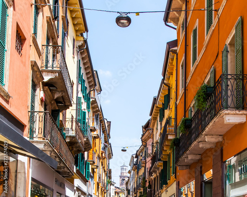 Verona, Italy, on April 24, 2019. the beautiful street with a typical architectural complex in the old city.