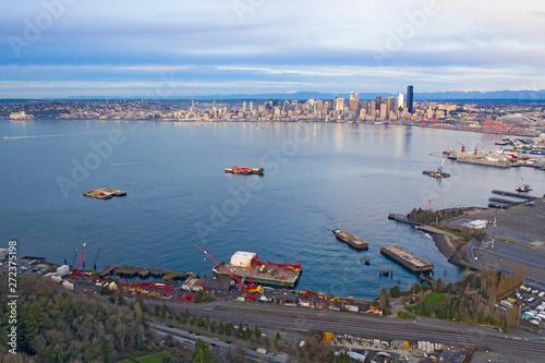 West Seattle View Looking Towards Downtown Skyline Across Elliott Bay Industrial фототапет