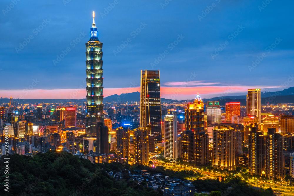 Photo  Skyline of Taipei Night cityscape Taipei 101 building of Taipei financial city ,