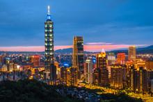 Skyline Of Taipei Night Cityscape Taipei 101 Building Of Taipei Financial City ,Taiwan