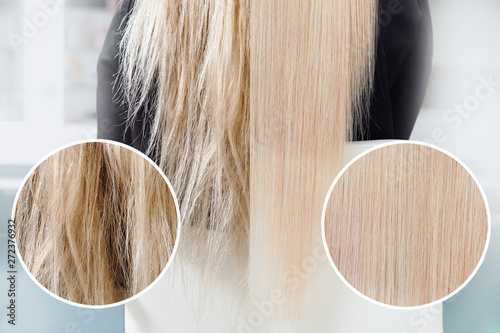 Before and after straightenin treatment. Sick, cut and healthy hair care keratin