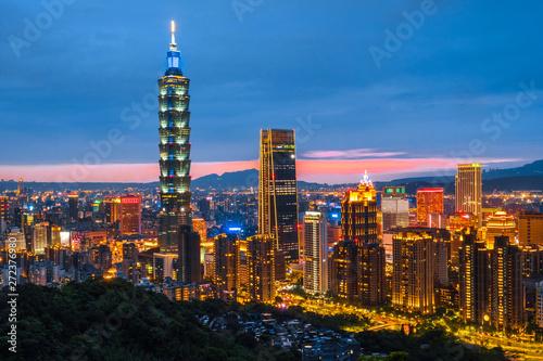 фотография  Skyline of Taipei Night cityscape Taipei 101 building of Taipei financial city ,