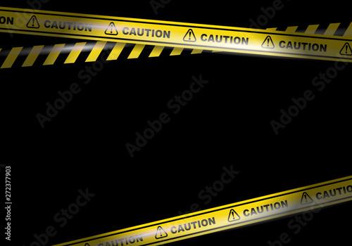 Fototapeta Caution tapes on black background vector image