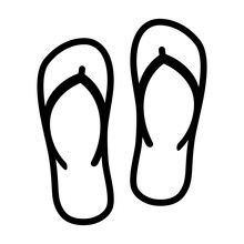 Flip Flops Sandal Beach Wear Line Art Vector Icon For Apps And Websites