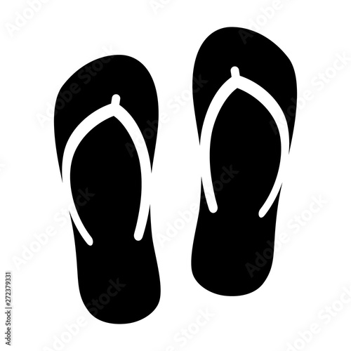Flip flops sandal beach wear flat vector icon for apps and websites Canvas Print