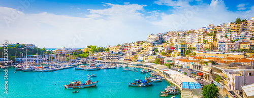 Panoramic view of Mikrolimano with colorful houses along the marina in Piraeus, Greece Canvas Print