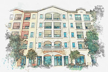 Watercolor Sketch Or Illustration Of A View Of A Modern Apartment Building.
