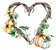 Autumn Illustration. Watercolor Frame Heart With Pumpkins Perfect For Party Invite, Card, Autumn Background, Poster. Isolated On White, Hand Drawn.