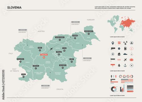 Vector map of Slovenia Canvas Print