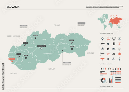 Vector map of Slovakia Wallpaper Mural