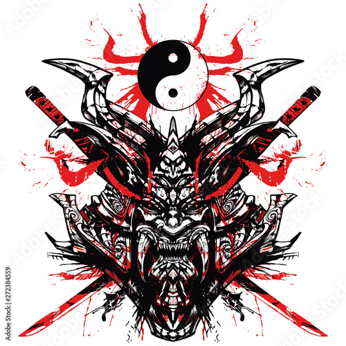 Bloody samurai mask with sw...