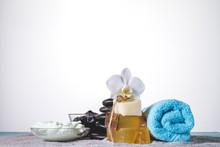Decorative Spa Objects On Grey Towel