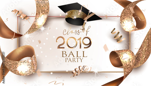 Photo Graduation 2019 banner with golden design elements and ribbon