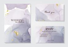 Modern Wedding Invitation Alcohol Ink Design. Vector Set On Watercolor Ink Splash Ink Violet Grey Colors. Purple Acrylic Marble Liquid Design With Gold Foil