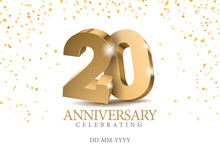 Anniversary 20. Gold 3d Number...