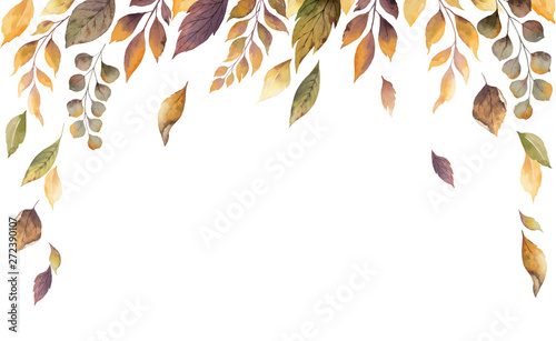 Obraz Watercolor vector autumn card with fallen leaves isolated on white background. - fototapety do salonu