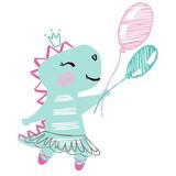 Fototapeta Dinusie - Dinosaur baby girl cute print. Sweet dino with balloon, ballet tutu, pointe shoes.