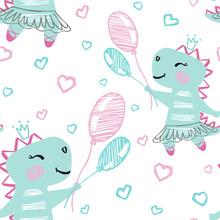 Dinosaur Baby Girl Cute Seamless Pattern. Sweet Dino Flying On Balloons Among Clouds. Ballet Tutu, Pointe.