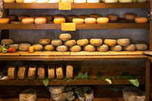 Show-window With Cheese In Shop