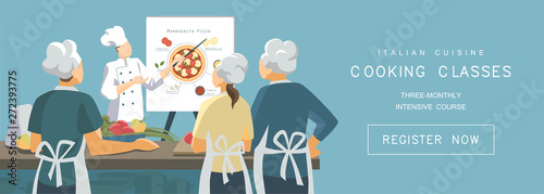 Fototapeta Cooking classes concept in flat style. Italian cuisine training courses. Chef demonstrates the principle of pizza cooking to students. Vector illustration obraz