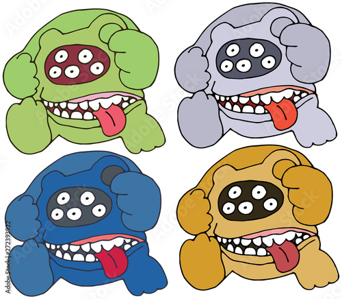 Print cartoon bear color doodle monster hand draw set funny scary