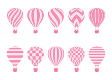 Hot Air Balloon Isolated Monochrome Vector Set. Collection Of Balloons With Patterns Zig Zags, Wavy Lines, Striped Or Checkered With Basket And Hot Air In Retro Style For Flight Concept Design