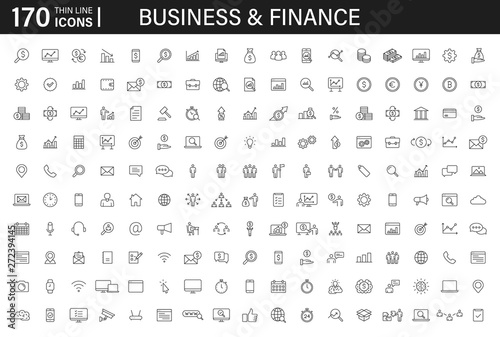 Big set of 170 Business and Finance web icons in line style Wallpaper Mural