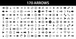 Arrows set of 170 black icons. Arrow icon. Arrow vector collection. Arrow. Cursor. Modern simple arrows. Vector illustration.