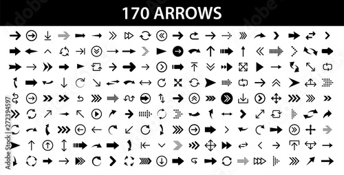 Obraz Arrows set of 170 black icons. Arrow icon. Arrow vector collection. Arrow. Cursor. Modern simple arrows. Vector illustration. - fototapety do salonu