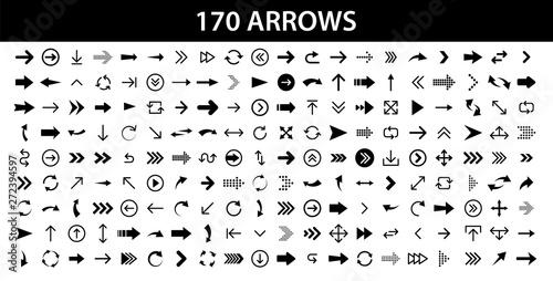 Fotografía  Arrows set of 170 black icons
