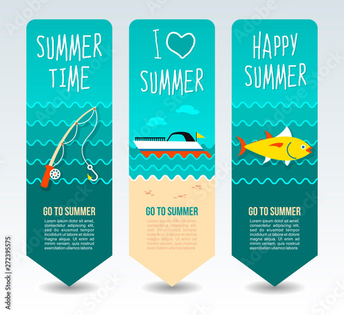 Travel and vacation vector banners Canvas Print