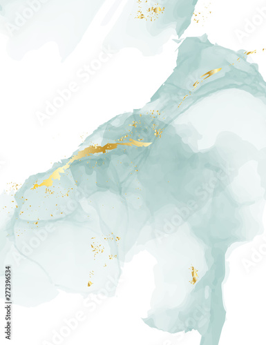Pastel blue gold old texture alcohol ink design Fotobehang