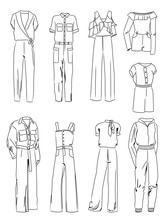 Set Of Contours Of Fashionable Women's Overalls, Different Styles, Isolated On A White Background.