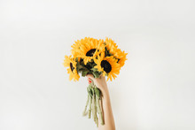 Sunflowers Bouquet In Female H...