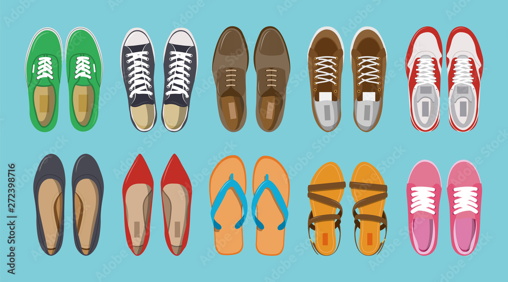 Fototapeta Men's and Women's shoes top view. Shoes icons. Sneakers and Slippers collection. Vector