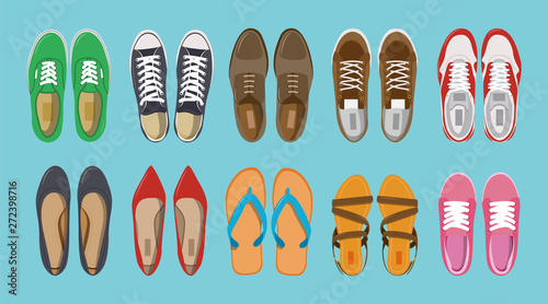 Obraz Men's and Women's shoes top view. Shoes icons. Sneakers and Slippers collection. Vector - fototapety do salonu