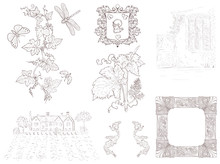 Hand Drawn Set Of Wine Design Elements And Labels Illustrations. Vintage Engraving Style.