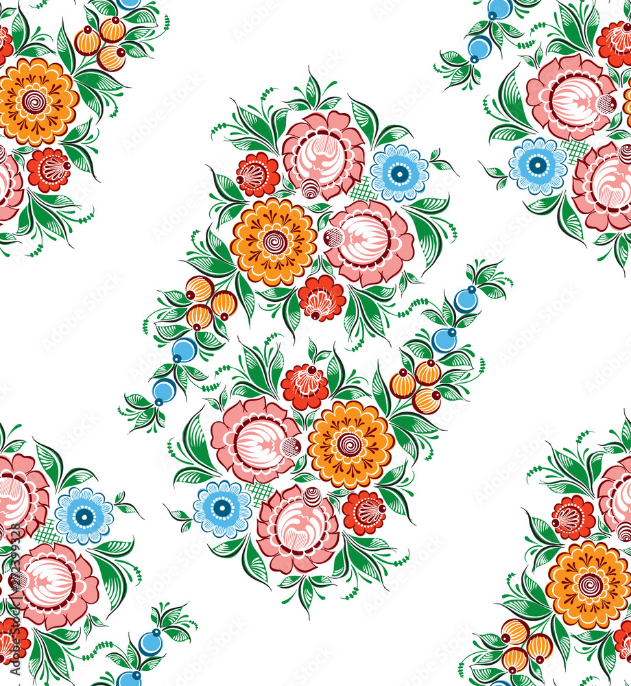Seamless vector pattern with floral russian traditional ethnic ornament Gorodets on isolated white background for your design