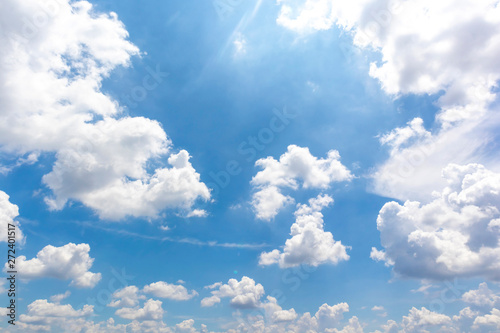 Beautiful blue sky with cloudy background and texture.