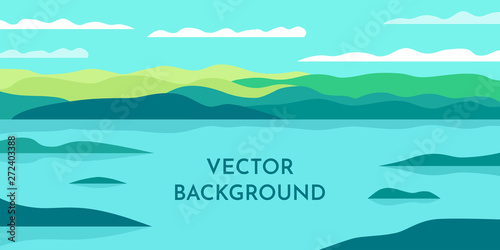 In de dag Groene koraal Vector minimalist wallpaper. Flat design. Landscape with shadows. Marshland with islands. Slopes on the background