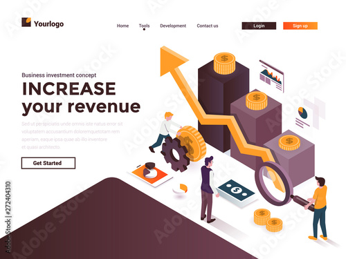 Flat color Modern Isometric Concept Illustration - Increase your revenue - 272404310